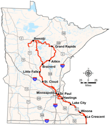 Minnesota State map of the Mississippi River Trail