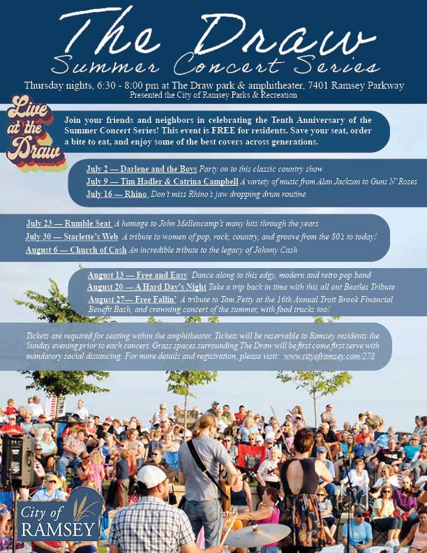 The Draw Summer Concert Series JULY AND AUGUST Flyer UPDATED 2020